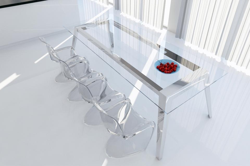 Mesas de comedor en acero inoxidable casa dise o for Disenos de mesas de vidrio para comedor